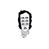 QIHE Multiple Eyes Old Man Edgar Allan Poe Head Enamel Lapel Pin For Special Gift