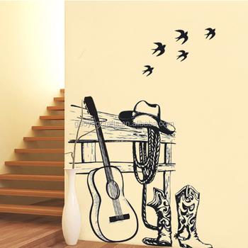 Creative Art Cowboy Hat Boots Guitar Wall Stickers Home Decor Diy ...