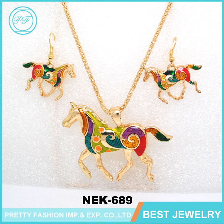 Gold Jewellery Designs Horse Shape Lucky Accessories For Women Elegant Necklace