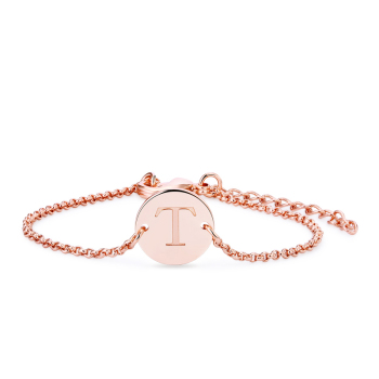 Sj Custom Rose Gold Coin Bracelet Personalized Name Bracelet Engraved Name  Round Metal Letter Bracelets - Buy Custom Bracelet,Metal Letter