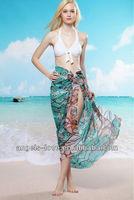 green snake printed beach sarong cover ups pattern A13161