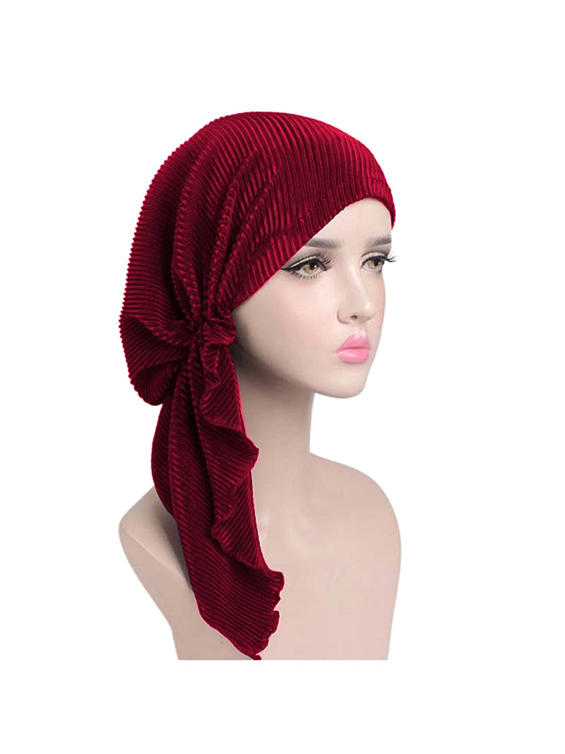 a917acf7f6350 Get Quotations · Zando Womens Chemo Hat Pre-Tied Caps Soft Turban Head  Scarves Headwear For Cancer Patients