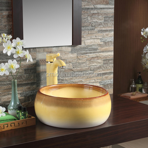 Bathroom wash hand basin stone wash sink round basin shape