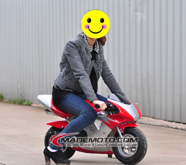 CE Approved 49cc cheap gas powered Pocket Bike Wholesale with high speed
