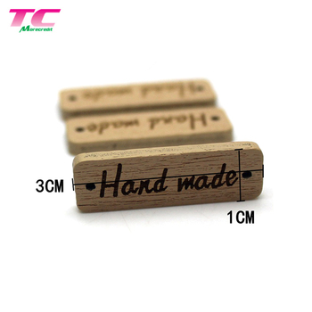 30x10mm Rectangle 2 Holes Handmade Wood Label Tag For DIY Products