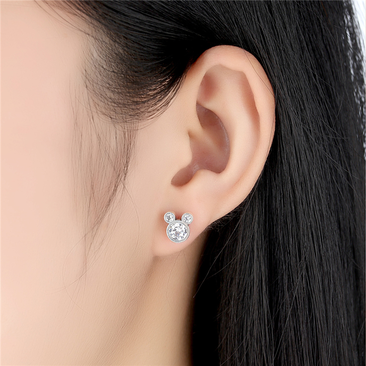 Fashional Mickey Mouse 925 Sterling Silver CZ Earrings Studs For Girls