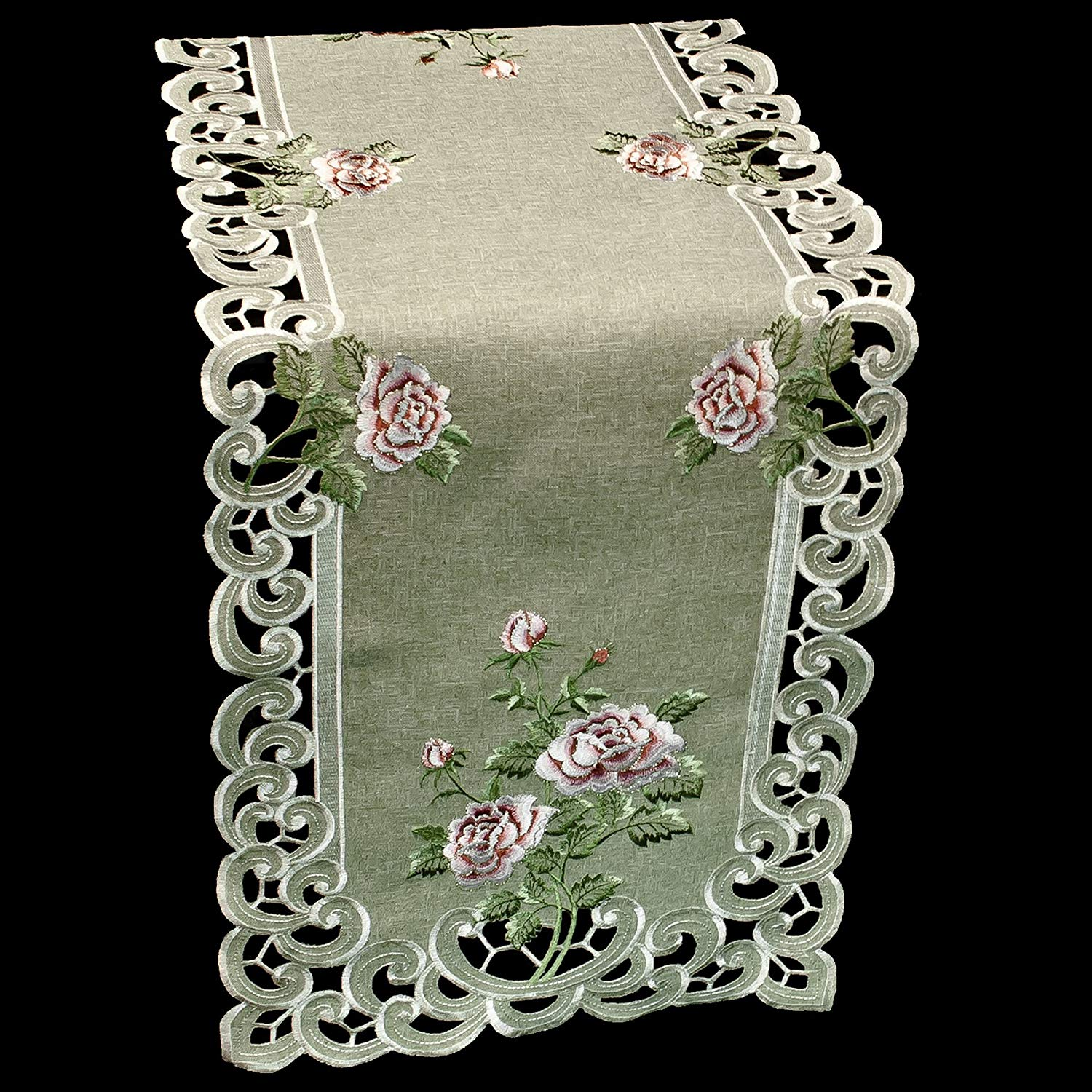 Table Runner with a Pink Rose and Sage Green Burlap Linen Fabric, Size 53 x 15 inches