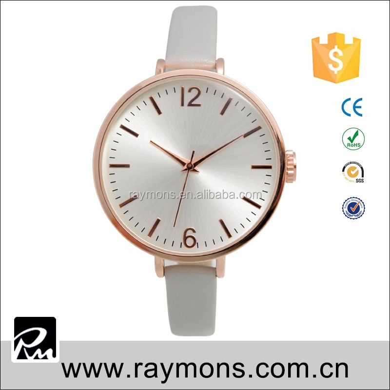 2017 new design watch 6 mm leather band water resistant brand logo simple watch