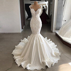 Real Photo Long Train Beaded Satin Mermaid Wedding Dresses with Pearls
