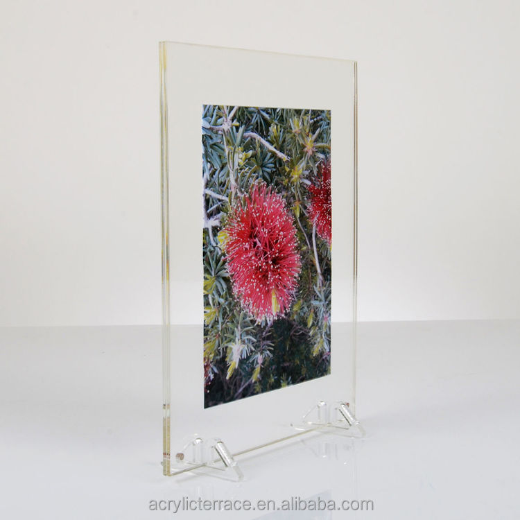 Double Sided Freestanding Acrylic Photo Frame, 2 small acrylic feet