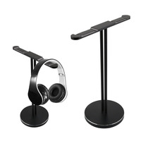 2 Two Double Head Universal Headphone Stand Dual Hanger for Headset with Solid Aluminum Base