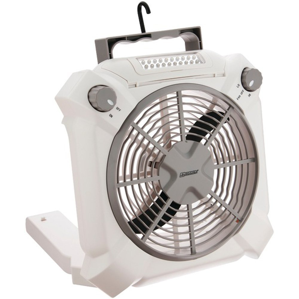 Dorcy Combination 2-Speed 20-LED 3-in-1 Fan and Utility Light with Folding Hook and Stand, White (41-3114)