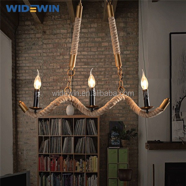 Antique Design Tortuosity Flax Rope Light Rustic-style Lighting ...