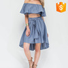 High-Low hem chambray lightweight chambray skirt dress with wide sash straps