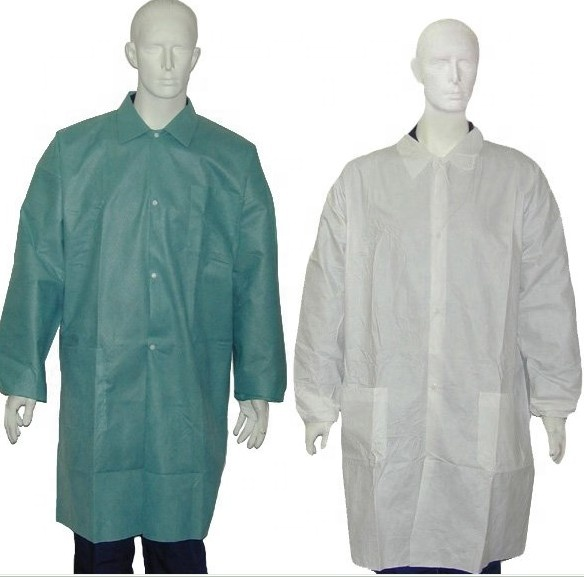 Plastice PP Disposable Non Woven Lab Coat