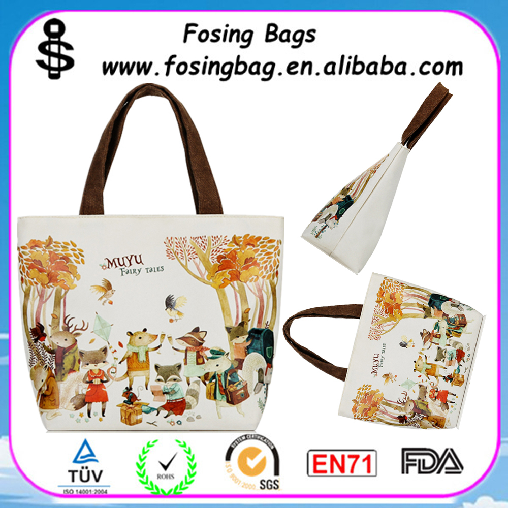 Factory Wholesale portable cartoon cloth korean fashion bags for ladies to be customized