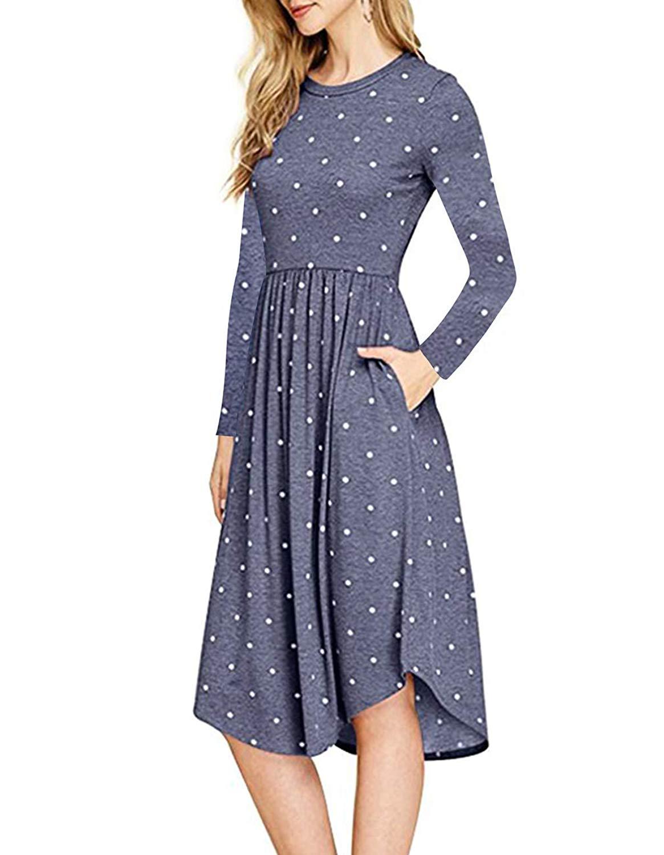 793870b1afb4 Get Quotations · Womens Casual Long Sleeve Polka Dot Empire Waist Pleated  Pockets Midi Dress