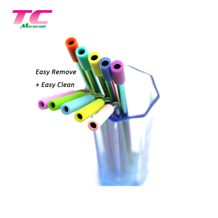 Reusable Food Grade Stainless Steel Straight/Bent Straw Set Packing Shiny Silver Metal Drinking Straw For Wholesale