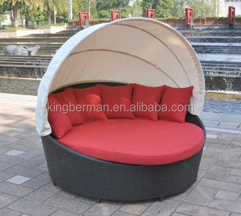 Outdoor Furniture Big Round Sunbed With Ceiling Beach Bed Sun Lounge
