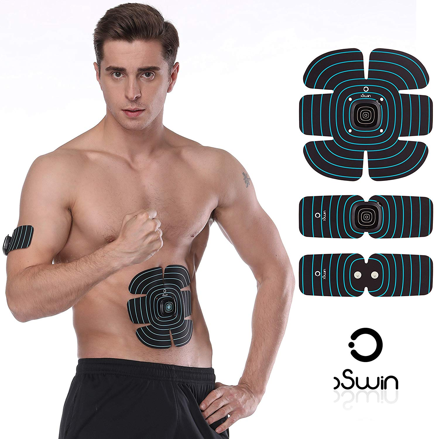 OSWIN Ultimate Abs Stimulator, Flex Muscle Toner Abdominal Toning Belt Training Gear Portable Fitness Machine Exercise for Abdomen/Arm/Thigh/Waist for Men/Women USB Charge