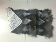 Silver Fox Leg Fur Plate / Natural Color Fox Fur Rug / Banket