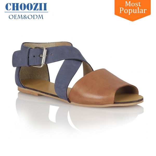 fd69bd413a6c5 OEM Shoe Factory Guangzhou Latest Simple Ladies White Leather Flat Sandals