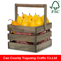 Yuguang Crafts Antique Rustic Swing Handle Wooden Fruit Basket