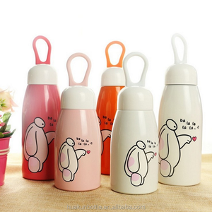 best selling 260ml 350ml stainless steel insulated funky small thermos flask , kids water bottle with logo custom print bpa free