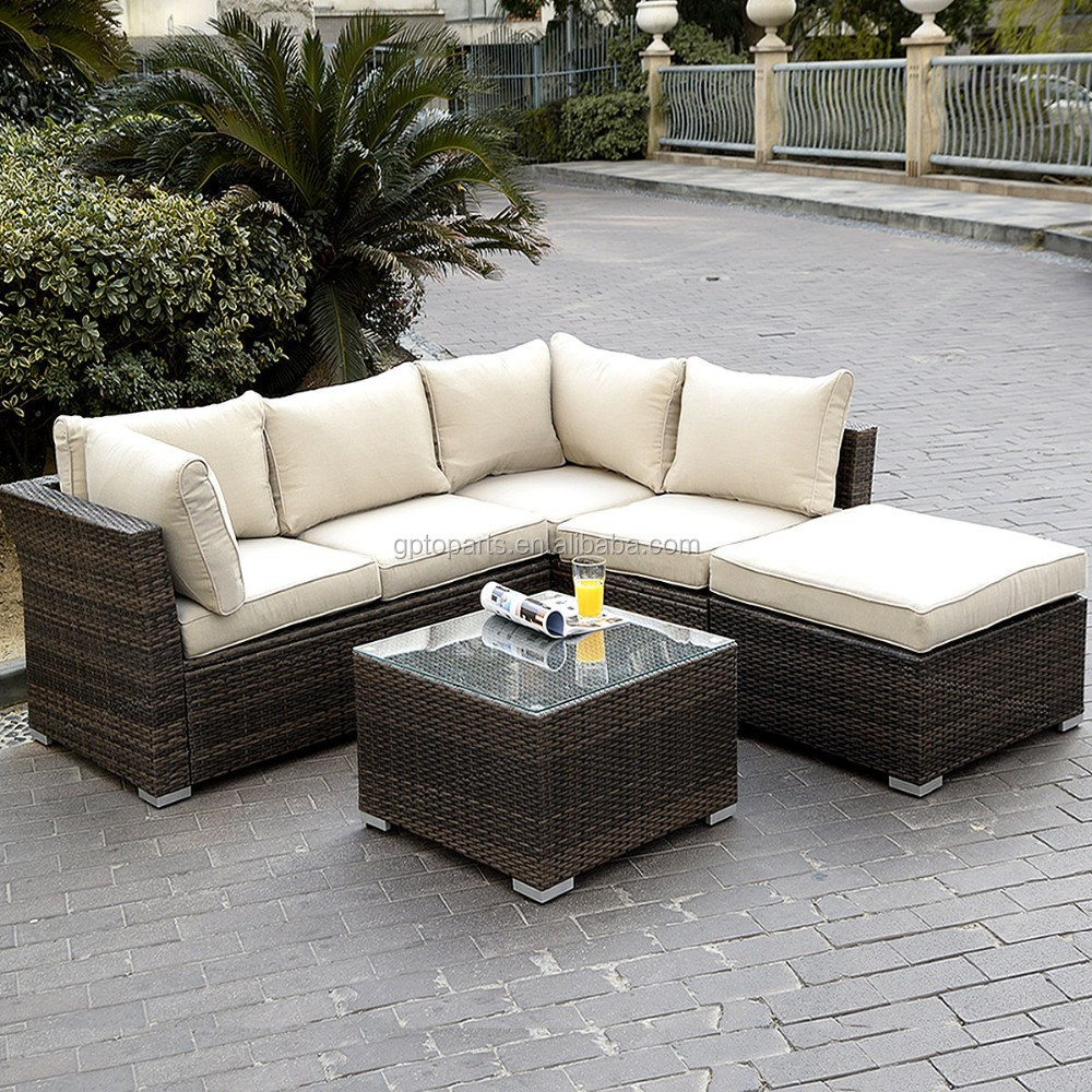 Rattan sofa outdoor  6pc Patio Sectional Furniture Pe Wicker Rattan Sofa Set Deck Couch ...
