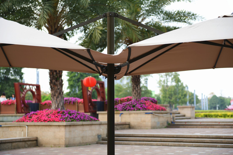 Aluminum large sunshade outdoor double canopy patio umbrella
