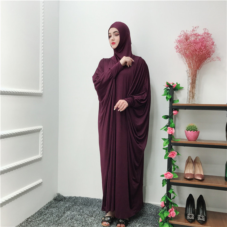 Newest 65%cotton 35% polyester material wine red Muslim pray  abaya with fashion sleeves