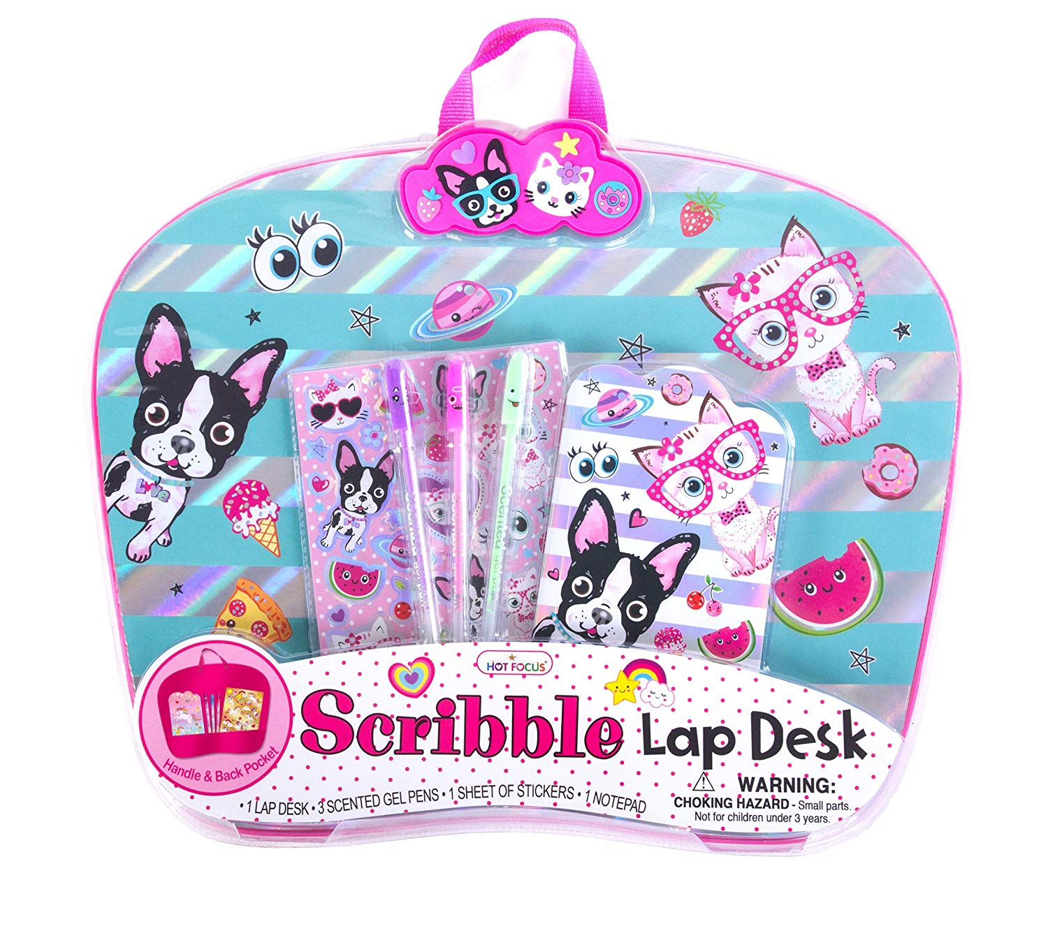 """Hot Focus Best Pals Travel Lap Desk – 16"""" Kid's French Bulldog and Kitten Lap Tray Desk Writing Surface with 3 Scented Gel Pens, Notebook and Stickers"""