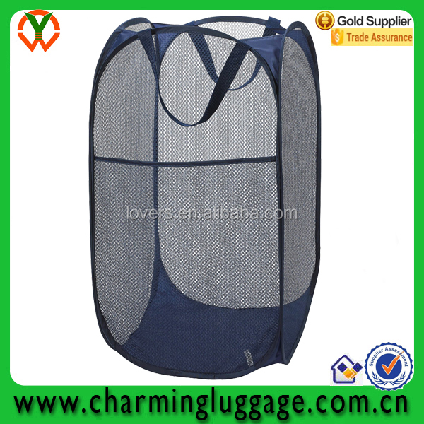 pop up collapsible foldable laundry mesh basket hamper