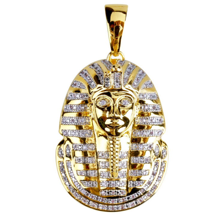 14K Gold Plated Iced Out Egyptian Pharaoh Face Pendant CharmUSA Seller