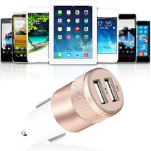 Metal Alloy 1.2A Double USB Car Charger Coverter Plug 5V 2.1A 1A Short Charging