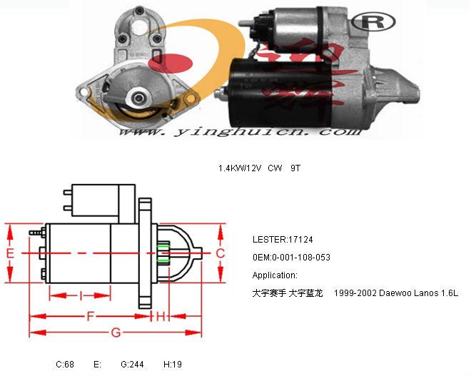 auto starter motor lester:17124 for daewoo racer 1999-2002 daewoo lanos 1 6l