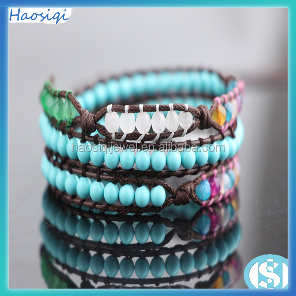 wholesale jewelry handmade colorful jade & blue turquoise bracelet