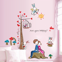 Warm bedroom wall stickers romantic lovers wall paper stickers