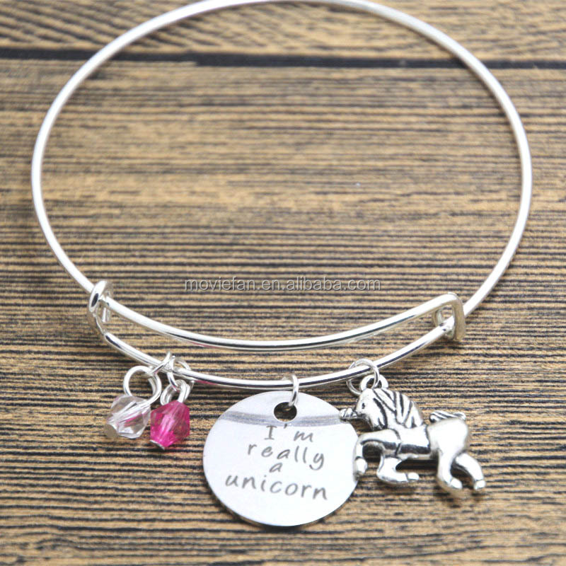 Unicorn bracelet I'm Really A Unicorn Silver tone crystals Hand stamped Unicorn gift bangle