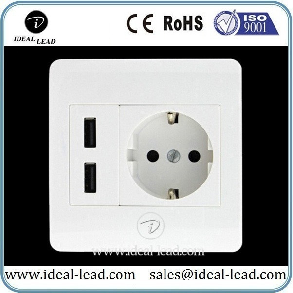 5V 2.1A EU Wall Socket with USB Port and switch 1 -221