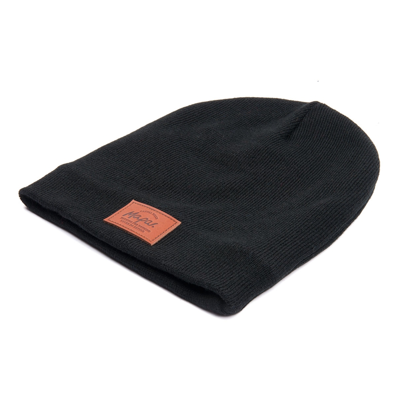 Hot sale custom 100% acrylic leather patch black beanie hat cap