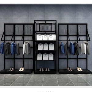 Metal wall system for clothing shop display