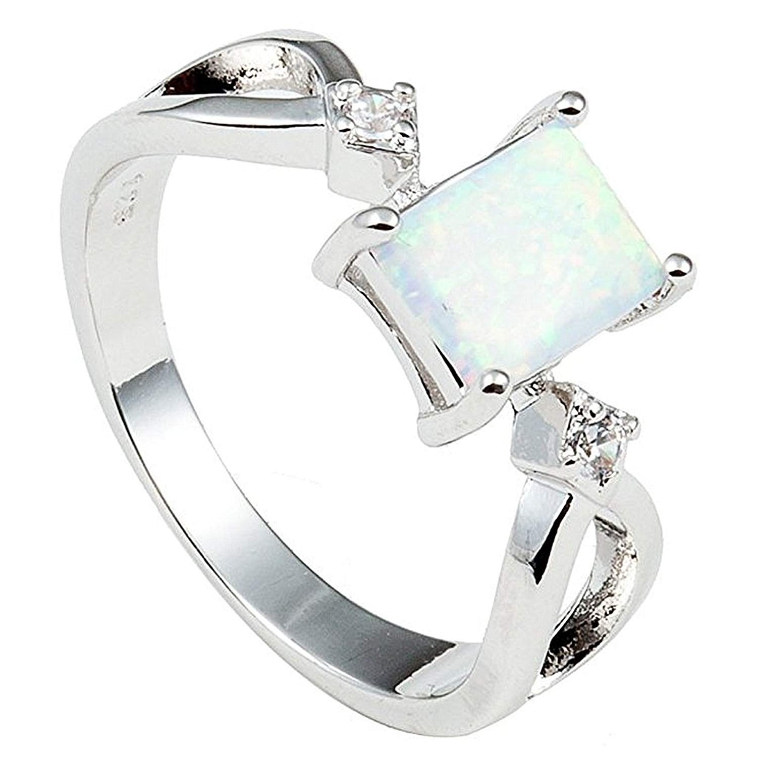 Jude Jewelers Princess Cut Opal Wedding Engagement Ring Anniversary Propose Promise Statement