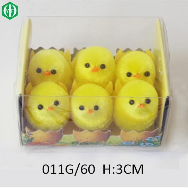 Boxes Of 6pcs Yellow Tiny Chenille Easter Chicken