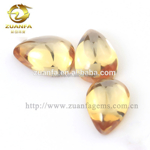 Decorative glass gems for clothes, pear cabochon cut flat bottom glass gems