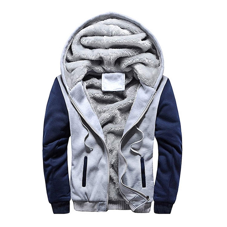 Jushye Mens' Hoodies, Mens Zipper Jacket Hoody S-4XL Hoodie Winter Warm Fleece Sweater Outwear Coat