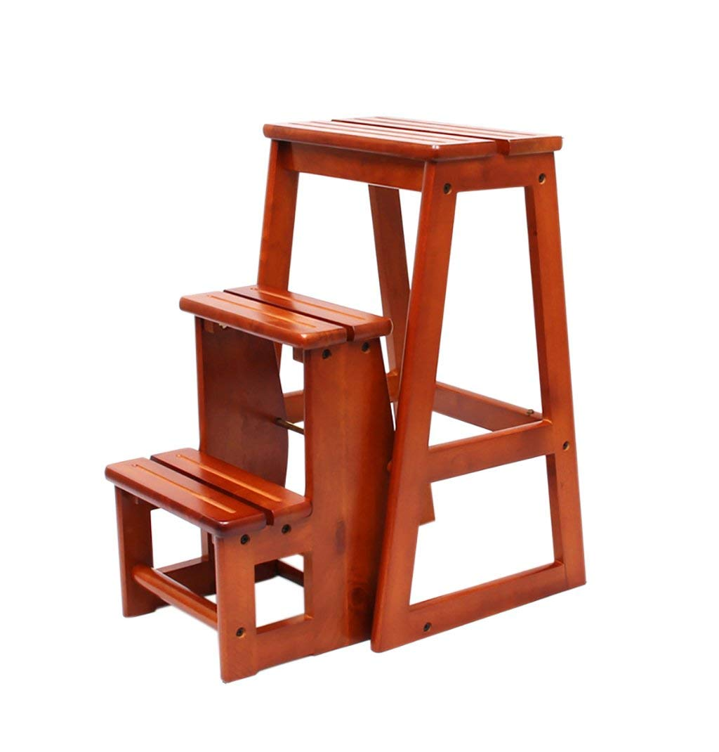YXWyz Folding Tables All solid wood three-tiered staircase stool/step stool dual-use folding ladder chair/household wooden ladder multi-function Reception Chairs (Color : B)