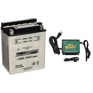 Power-Sonic CB14-A2 Conventional Powersport Battery and Battery Tender 022-0157-1 Waterproof 12 Volt Power Tender Plus Battery Charger Bundle