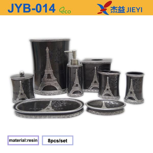 2016 Polyresin Bathroom Set Eiffel Tower 8pcs Accessory