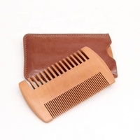 Amazon Hot sale custom logo portable Travel Leather cover pocket wooden Beard Comb
